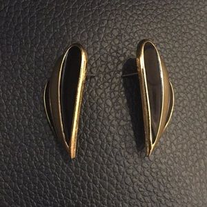 Trifari black enamel gold tone pierced earrings